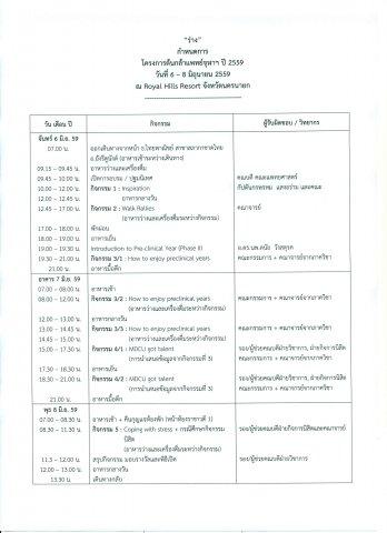 กำหนดการ โครงการต้นกล้าแพทย์จุฬาฯ ปี 2559